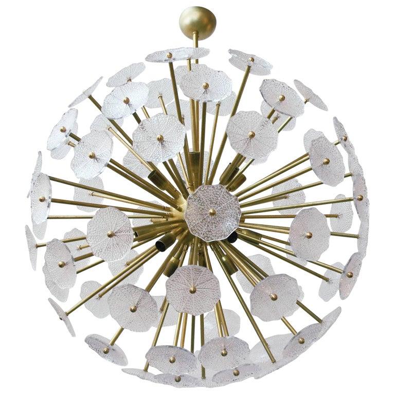Italian Sputnik Chandelier w/ Clear Murano Glass, 1960s For Sale