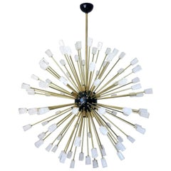 Italian Sputnik Chandelier with Clear Murano Glass Cubes, circa 1990s