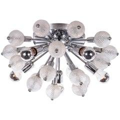 1960 Italy Sputnik Flush Mount Ceiling Light Crystal Glass & Chrome