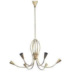 Italian Sputnik Gold Brass Midcentury Chandelier, 1960s