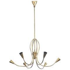 Italian Sputnik Golden Brass Midcentury Chandelier, 1960s