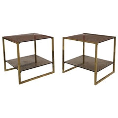 Italian Square Brass and Double Smoked Glass Shelf Coffee Tables, 1970s