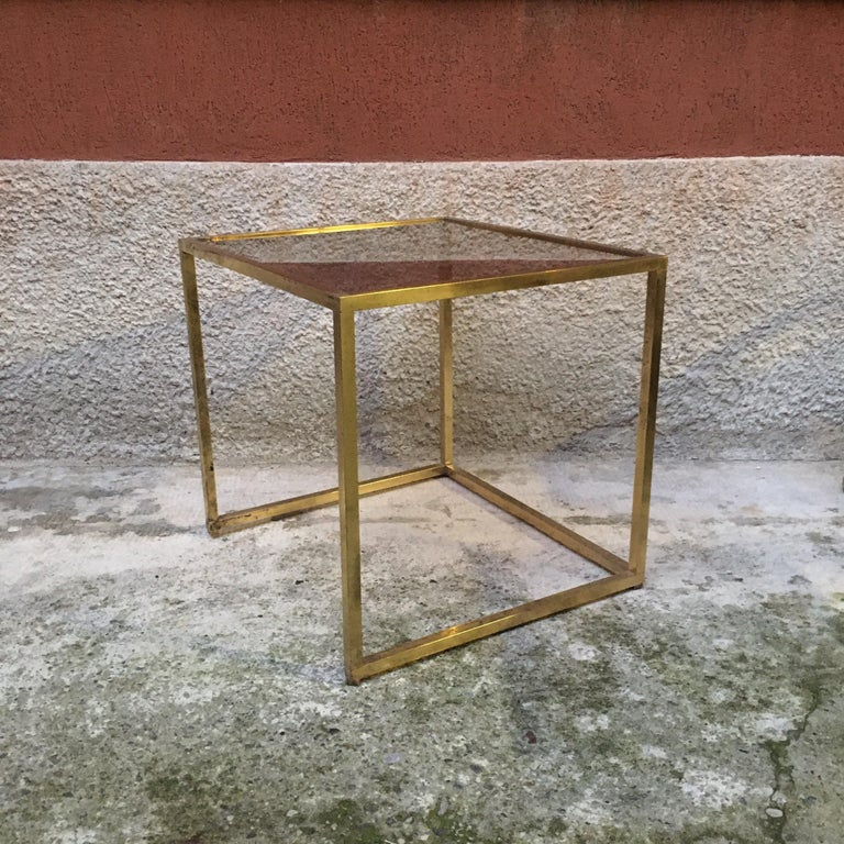 Mid-Century Modern Italian Square Brass and Smoked Glass Coffee Table, 1960s For Sale
