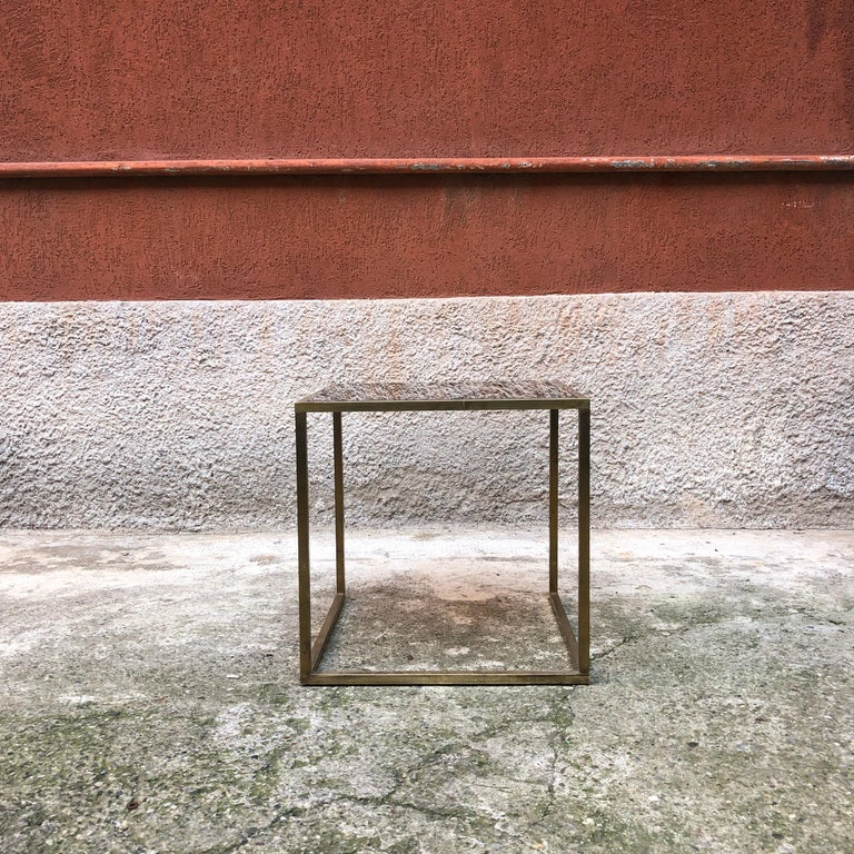 Italian Square Brass and Smoked Glass Coffee Table, 1960s In Good Condition For Sale In MIlano, IT