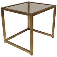 Italian Square Brass and Smoked Glass Coffee Table, 1960s
