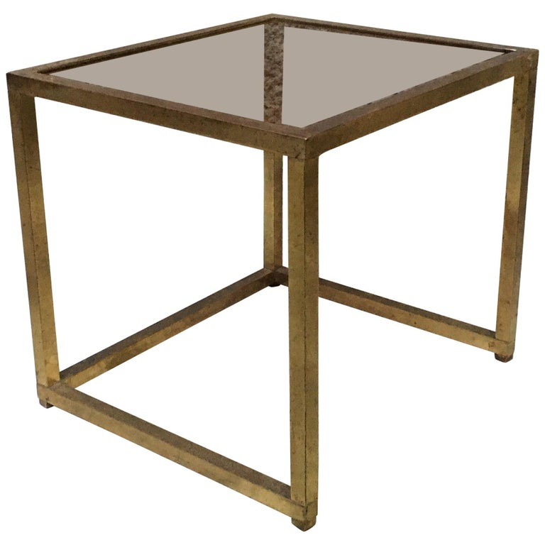 Italian Square Brass and Smoked Glass Coffee Table, 1960s For Sale