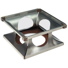 Italian Square Coffee Table in Metal, Glass and Wood