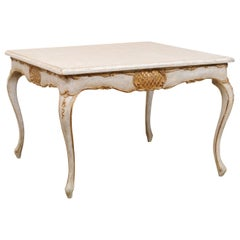 Italian Square-Shaped Painted Wood Table with Scalloped Skirt & Gilt Accents
