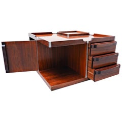 Mid-Century Modern Italian wooden Square Storage Coffee Table