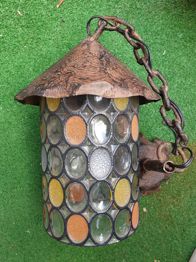 Italian Stained Glass Chandelier, Lantern For Sale 5