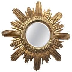 Italian Starburst Sunburst Cosmetic Enlargement Mirror Plastic, circa 1970s