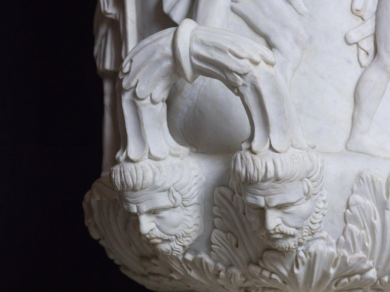 Italian Statuary White Marble Medici Vase after the Classical Greek For Sale 4