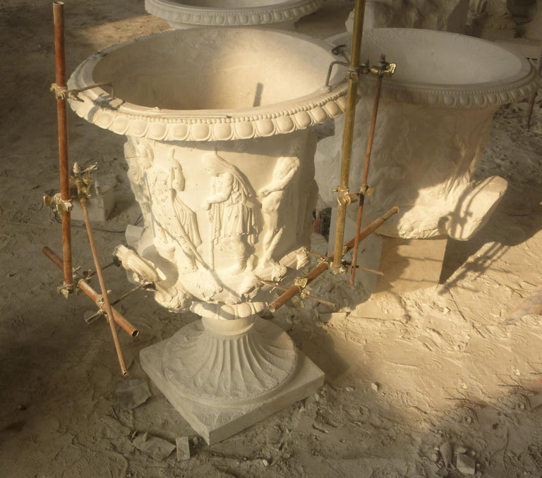Hand-Carved Italian Statuary White Marble Medici Vase after the Classical Greek For Sale