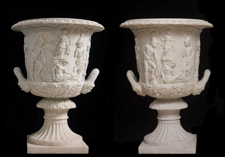 Statuary Marble Italian Statuary White Marble Medici Vase after the Classical Greek For Sale