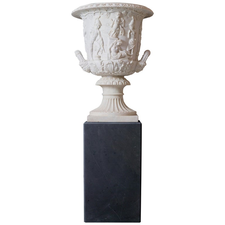 Italian Statuary White Marble Medici Vase after the Classical Greek For Sale
