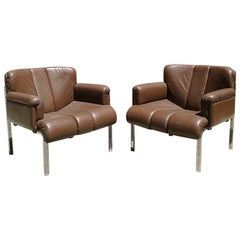 Italian Steel and Brown Leather Armchairs, 1970s