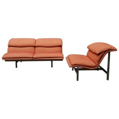 Italian Steel and Fabric Wave Sofa and Armchair, by Giovanni Offredi, 1974