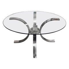 Italian Steel and Glass Round Table, 1970s, in the Manner of Osvaldo Borsani