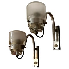 Italian Steel and Glass Sconces by Marco Zanuso for Oluce, 1950s