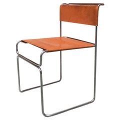 Italian Steel and Leather Libellula Chair, Designed by Giovanni Carini in 1970