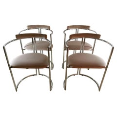 Italian Steel and Velvet Chairs 'Set of 4 Pieces', 1970