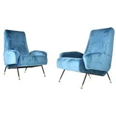 Italian Steel, Brass and Blu Velvet Armchairs, 1950s