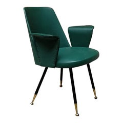 Italian Steel, Brass and Green Faux Leather Armchair, 1950s