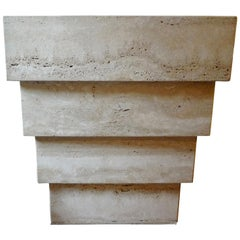 Italian Stepped Travertine Pedestal or Table Base after Angelo Mangiarotti