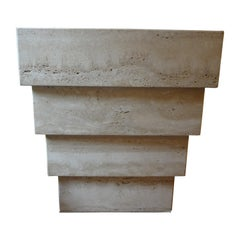 Italian Stepped Travertine Pedestal or Table Base