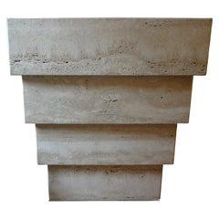 Italian Stepped Travertine Pedestal or Table Base