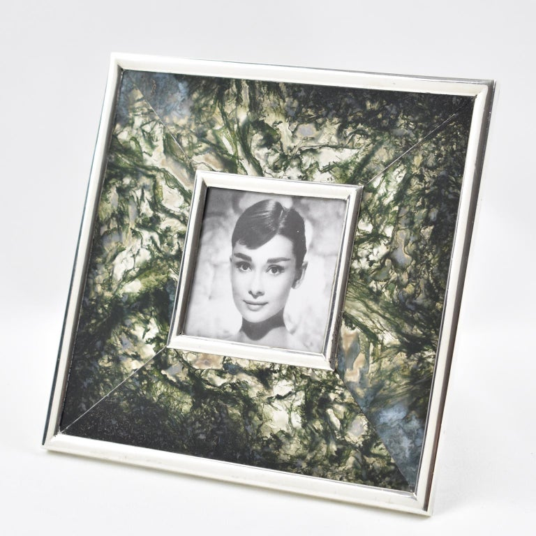 Lovely Italian design picture photo frame. Square shape with sterling silver framing compliment with thick slabs of green moss agate stone. Sterling silver easel at the back. Stamped 925 on the easel with master silversmith legal