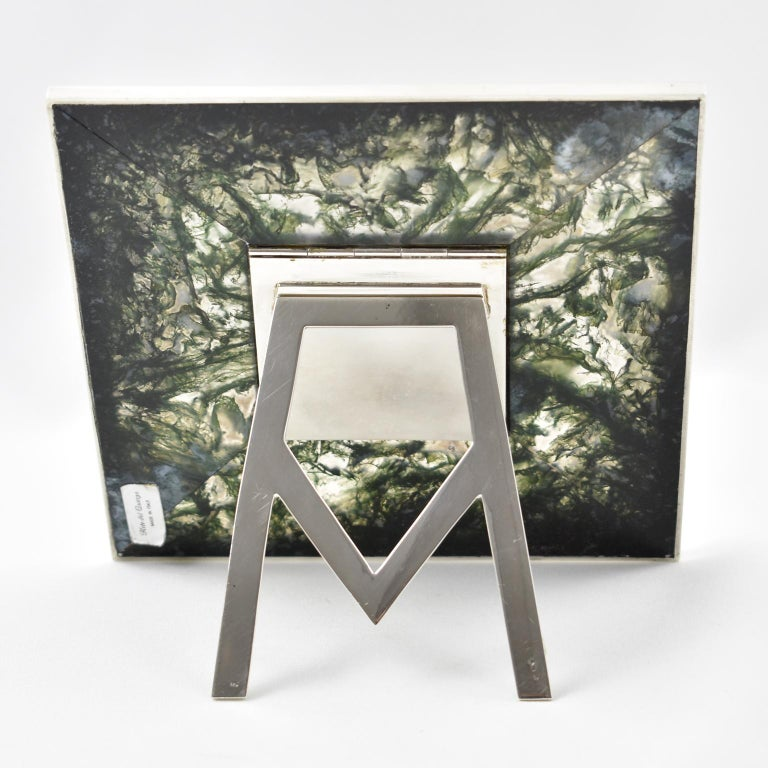 Italian Sterling Silver and Agate Stone Picture Frame In Excellent Condition For Sale In Atlanta, GA