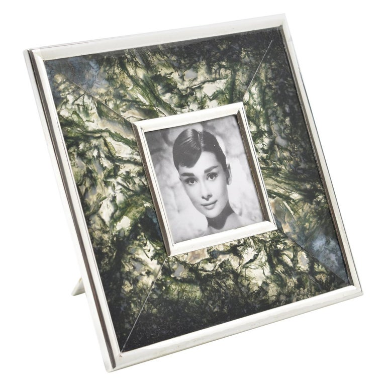 Italian Sterling Silver and Agate Stone Picture Frame For Sale