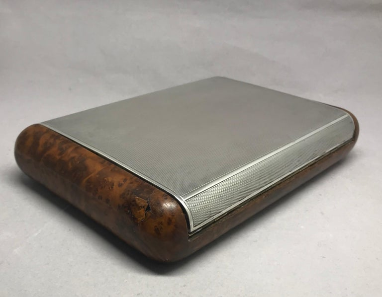 Mid-Century Modern Italian Sterling Silver and Burl Wood Box For Sale