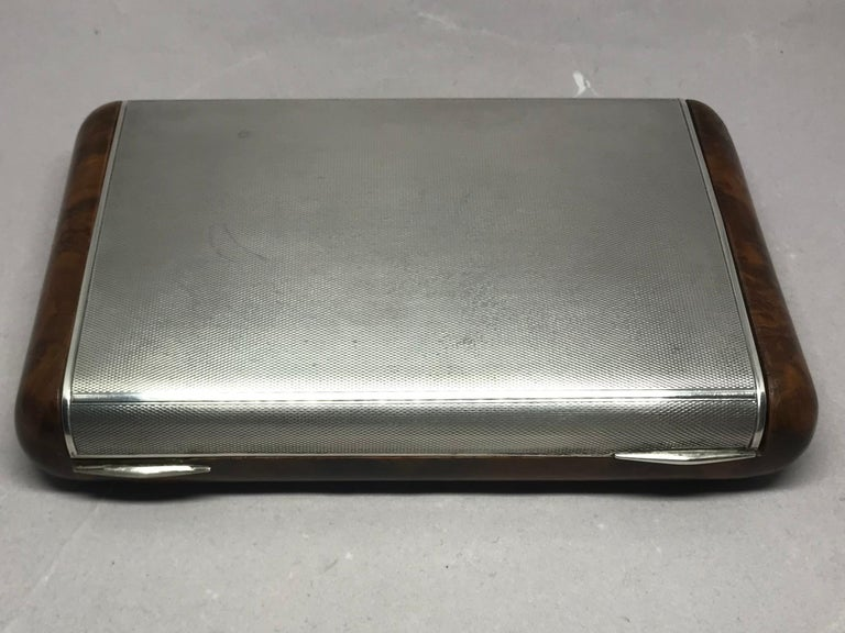 Italian Sterling Silver and Burl Wood Box For Sale 2