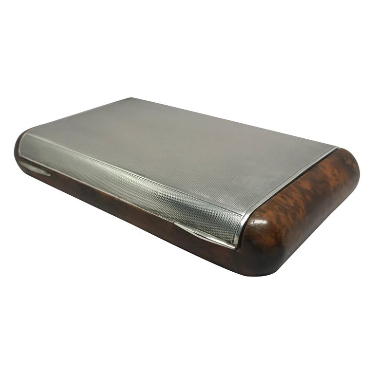 Italian Sterling Silver and Burl Wood Box For Sale