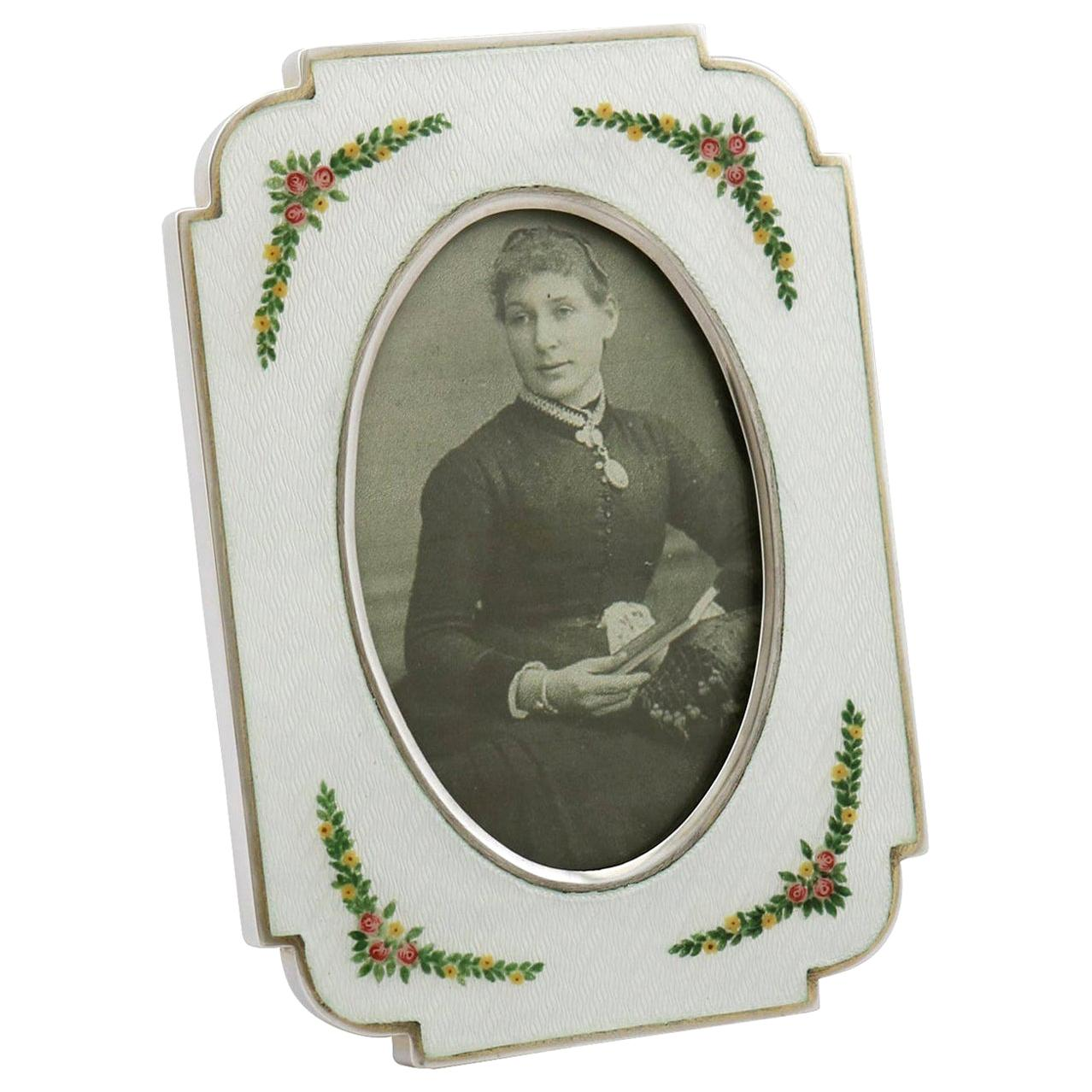 Italian Sterling Silver and Enamel Photograph Frame, circa 1970