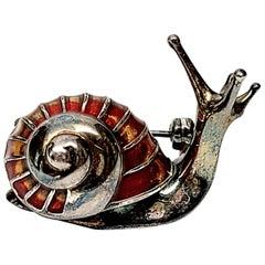 Italian Sterling Silver and Enamel Snail Pin