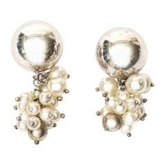Italian Sterling Silver and Pearl Cluster Dangle Pierced Earrings