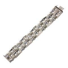 Italian Sterling Silver Geometric Row Link Bracelet Vintage 60's