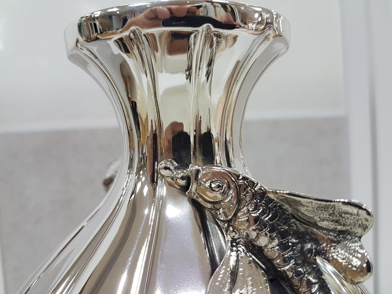 Italian Sterling Silver Handmade Vase with Ceased Strips and Fish For Sale 2