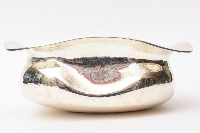Modern Italian Sterling Silver Sculptural Bowl  For Sale