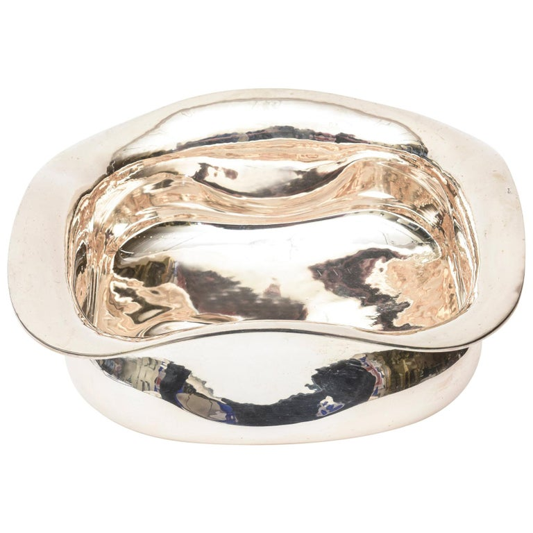 Italian Sterling Silver Sculptural Bowl  For Sale