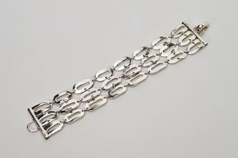 Women's Italian Sterling Silver Wide Chain Link Bracelet For Sale