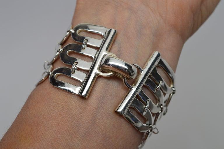 Italian Sterling Silver Wide Chain Link Bracelet For Sale 1