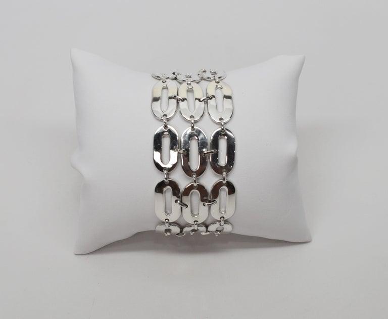 Italian Sterling Silver Wide Chain Link Bracelet For Sale 2