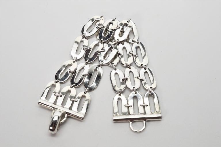 Italian Sterling Silver Wide Chain Link Bracelet For Sale 3