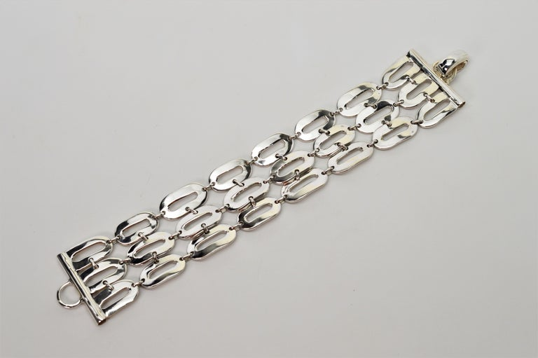 Italian Sterling Silver Wide Chain Link Bracelet For Sale 5