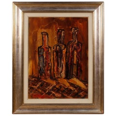 Italian Still Life Painting in Impressionist Style from 20th Century