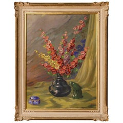 Italian Still Life Painting Vase with Flowers Oil on Canvas from 20th Century